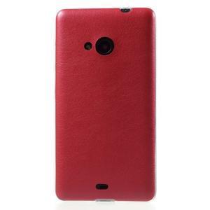 Ultra tenký kožený kryt pre Microsoft Lumia 535 - červený - 2