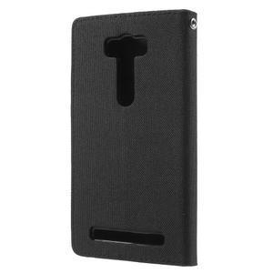 Canvas textilní/PU kožené puzdro na Asus Zenfone 2 Laser - čierné - 2