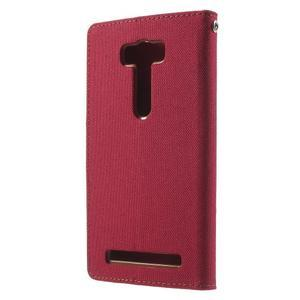 Canvas textilní/PU kožené puzdro na Asus Zenfone 2 Laser - červené - 2