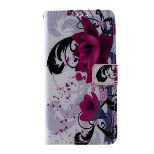 Cross peňaženkové puzdro na Huawei Honor 7 - fialové květy - 2