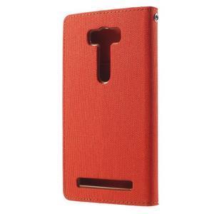 Canvas textilní/PU kožené puzdro na Asus Zenfone 2 Laser - oranžové - 2