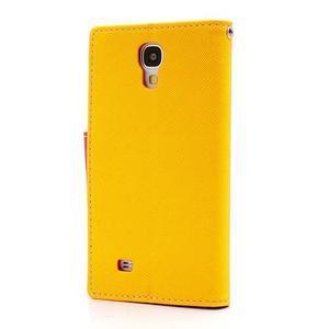 Fancy peňaženkové puzdro pre Samsung Galaxy S4 - žlté - 2