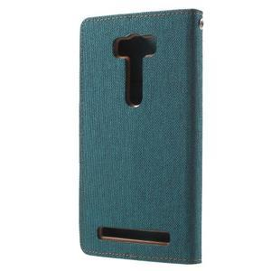 Canvas textilné/PU kožené puzdro pre Asus Zenfone 2 Laser - zelenomodré - 2