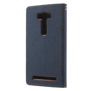 Canvas textilní/PU kožené puzdro na Asus Zenfone 2 Laser - tmavo modré - 2