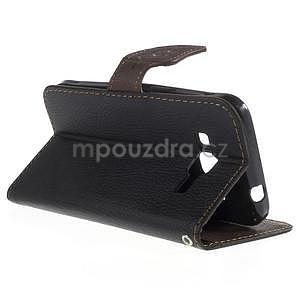 Černé/hnedé peňaženkové puzdro pre Samsung Galaxy Core Prime - 2