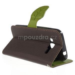 Hnedé/zelené peňaženkové puzdro pre Samsung Galaxy Core Prime - 2