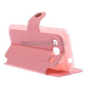 Zapínací peňaženkové puzdro pre Samsung Galaxy Core Prime - ružové - 2