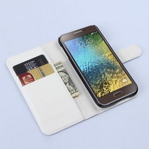 Kožené peňaženkové puzdro pre Samsung Galaxy E5 - biele - 2