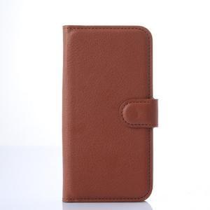 Kožené peňaženkové puzdro na Samsung Galaxy E5 - hnedé - 2