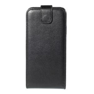 Kožené flipové puzdro Samsung Galaxy E5 - čierné - 2