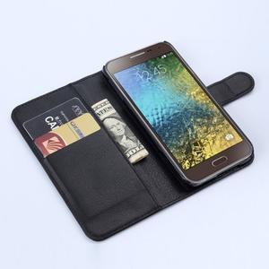 Kožené peňaženkové puzdro na Samsung Galaxy E5 - čierné - 2