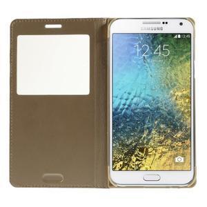 Kožené peňaženkové puzdro s okienkom - zlaté - 2