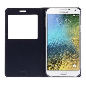 Kožené peňaženkové puzdro s okienkom - tmavo modré - 2