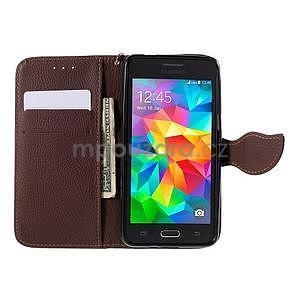 Čierné/hnedé zapínací peňaženkové puzdro na Samsung Galaxy Grand Prime - 2