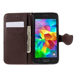 Červené/hnedé zapínací peňaženkové puzdro na Samsung Galaxy Grand Prime - 2