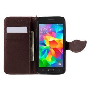 Rose/hnedé zapínací peňaženkové puzdro na Samsung Galaxy Grand Prime - 2