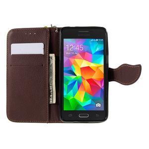 Zelené/hnedé zapínací peňaženkové puzdro na Samsung Galaxy Grand Prime - 2