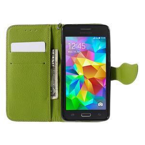Hnedé/zelené zapínací peňaženkové puzdro pre Samsung Galaxy Grand Prime - 2