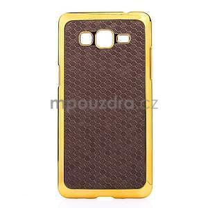 Luxusný kryt se zlatým lemem pre Samsung Grand Prime - hnedý - 2