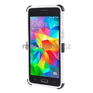 Vysoce odolný kryt se stojánkem na Samsung Galaxy Grand Prime - biely - 2