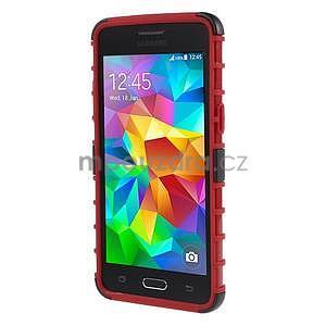 Vysoce odolný kryt se stojánkem na Samsung Galaxy Grand Prime - červený - 2