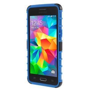 Vysoce odolný kryt so stojanom pre Samsung Galaxy Grand Prime - modrý - 2