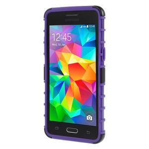 Vysoce odolný kryt so stojanom pre Samsung Galaxy Grand Prime - fialový - 2