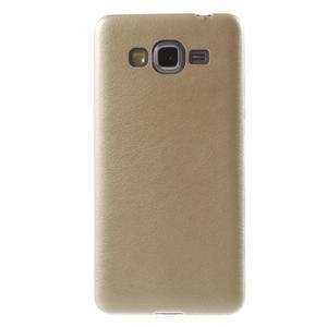 Ultratenký kožený kryt na Samsung Grand Prime - zlatý - 2