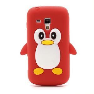 Silikonový obal tučňák na Samsung Galaxy S Duos - červený - 2