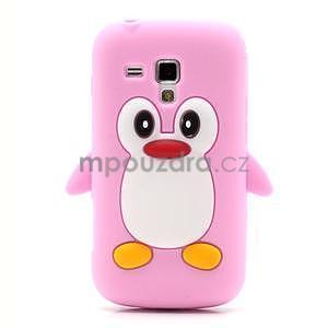 Silikonový obal tučniak pre Samsung Galaxy S Duos - ružový - 2