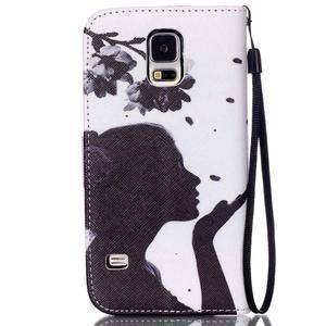 Knížkové PU kožené pouzdro na Samsung Galaxy S5 - květinová dívka - 2