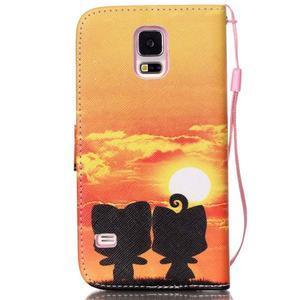Knížkové PU kožené puzdro pre Samsung Galaxy S5 - západ slnka - 2