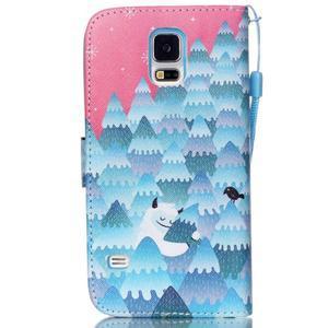 Knížkové PU kožené puzdro pre Samsung Galaxy S5 - snežný muž - 2