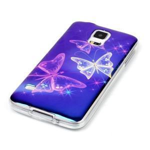 Blu-ray gélový obal s odlesky pre Samsung Galaxy S5 - čarovné motýle - 2