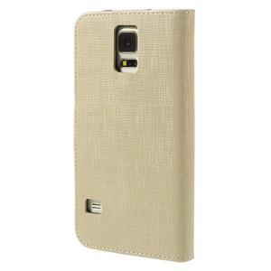 Clothy Pu kožené puzdro pre Samsung Galaxy S5 - champagne - 2