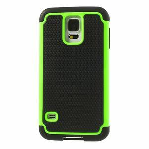 Odolný obal 2v1 na mobil Samsung Galaxy S5 - zelený - 2