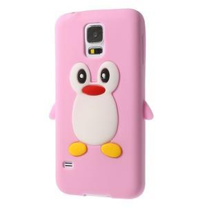 Penguin silikonový obal pre Samsung Galaxy S5 - ružový - 2