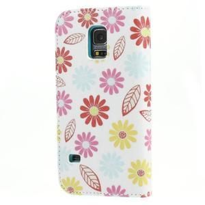 Emotive PU kožené pouzdro na Samsung Galaxy S5 mini - barevné květiny - 2