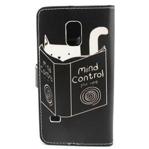 Peňaženkové puzdro pre mobil Samsung Galaxy S5 mini - kniha a mačička - 2