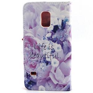 Peňaženkové puzdro pre mobil Samsung Galaxy S5 mini -  kvety - 2