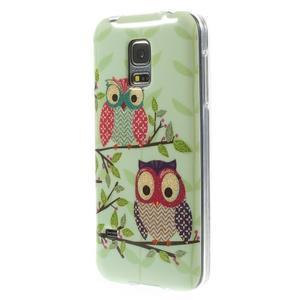 Owls gélový obal pre Samsung Galaxy S5 mini - sovy na vetve - 2