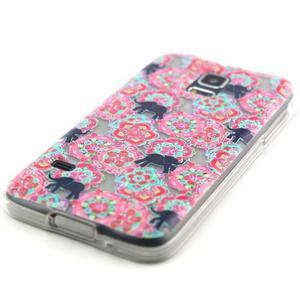 Transparentný gélový obal pre mobil Samsung Galaxy S5 mini - kvety a slony - 2
