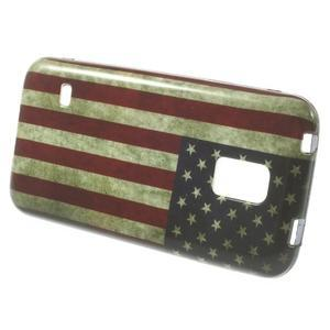 Softy gélový obal pre Samsung Galaxy S5 mini - US vlajka - 2