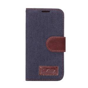 Jeans peňaženkové puzdro pre Samsung Galaxy S5 mini - čiernomodré - 2