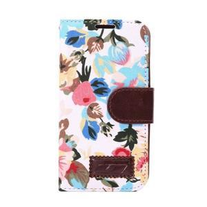 Kvetinové puzdro pre mobil Samsung Galaxy S5 mini - biele pozadie - 2