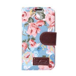 Květinové pouzdro na mobil Samsung Galaxy S5 mini - modré pozadí - 2