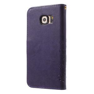 Butterfly PU kožené puzdro pre mobil Samsung Galaxy S6 Edge - fialové - 2