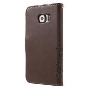 Butterfly PU kožené puzdro pre mobil Samsung Galaxy S6 Edge - coffee - 2