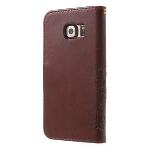 Butterfly PU kožené puzdro pre mobil Samsung Galaxy S6 Edge - hnedé - 2