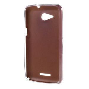 Gélový obal na Sony Xperia E4g s koženkovým chrbtom - zlatý - 2